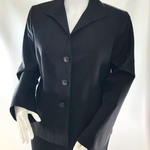 Lafayette 148 Petites Black Stretch Wool Blazer 10
